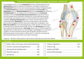 Therapiekarte Seitenbandverletzung Kniegelenk
