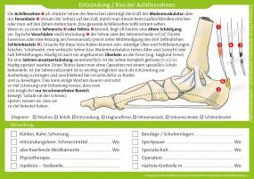 Therapiekarte Entzündung / Riss der Achillessehnen