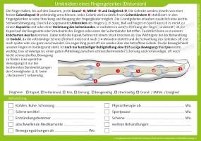 Therapiekarte Umknicken eines Fingergelenk