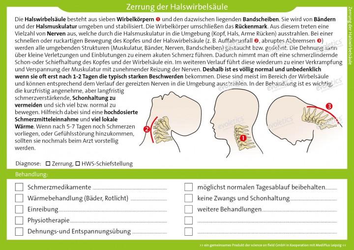 Therapiekarte Zerrung der Halswirbelsäule | Therapiekarten (Ärzte ...