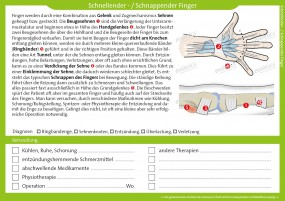 Therapiekarte schnellender Finger